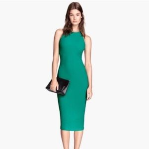 H&M Teal Green Textured Racer Back Midi Dress